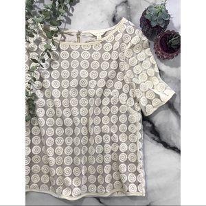 Adiva Ivory Boho Lace Appliqué Short Sleeve Blouse